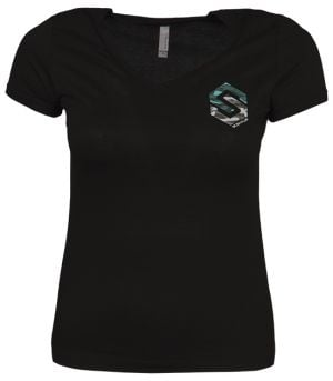 Ladies V-Neck Chest Logo Shirt Black Small