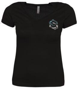 Ladies V-Neck Side Logo T-shirt