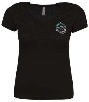 Ladies V-Neck Chest Logo Shirt Black Small