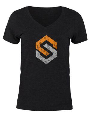 Women's Icon V-Neck T-Shirt-Small-Black
