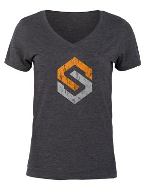 Women's Icon V-Neck T-Shirt-Small-Charcoal