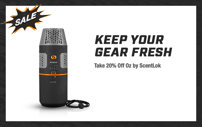 Keep your gear fresh. Take 20% off Oz by Scentlok